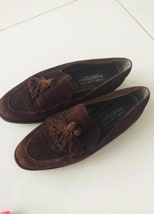 Коричневые лоферы туфли с кисточками с кистями
