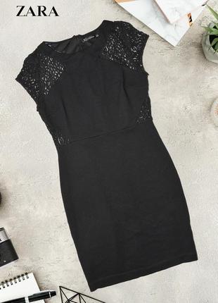 Чёрное платье с кружевом zara