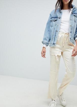 Круті штани asos design брюки карго комбат карманы сатин спортивные