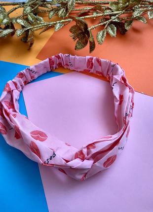 Женская  повязка чалма. губки.  розовая