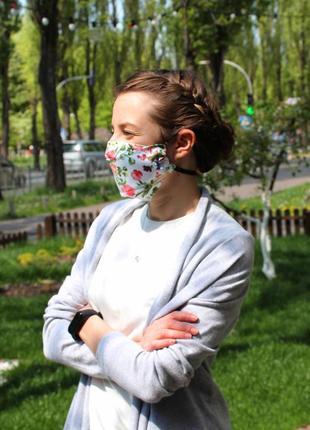 Многоразовая маска для лица - цветы, трёхслойные маски с кармашком для фильтров