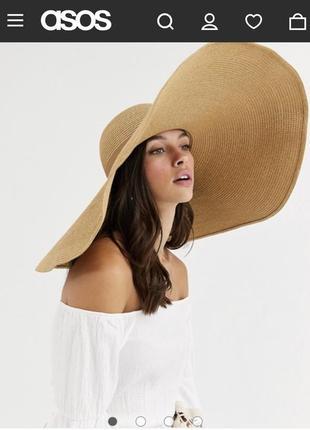 Крутая соломенная золотая шляпа с широкими полями asos