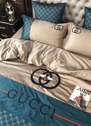 Комплект постельного белья хлопок с вышивкой в стиле gucci