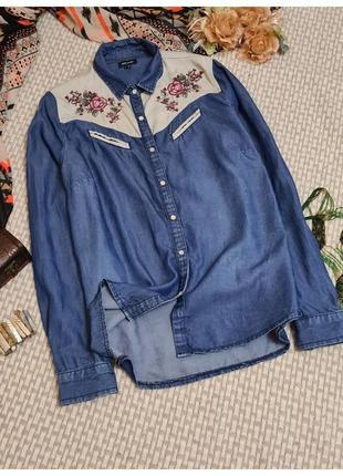 Джинсовая рубашка river island/рубашка с вышивкой