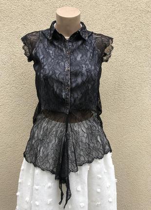 Чёрная,кружевная блуза,рубашка,кофточка