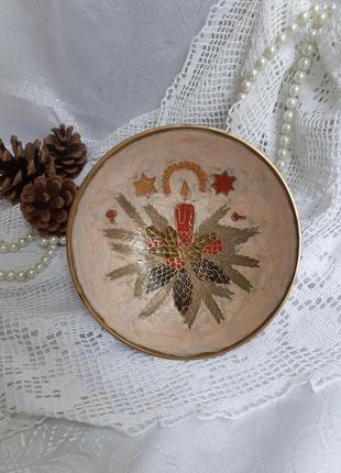 Конфетница рождественская клуазоне латунь ваза для фруктов