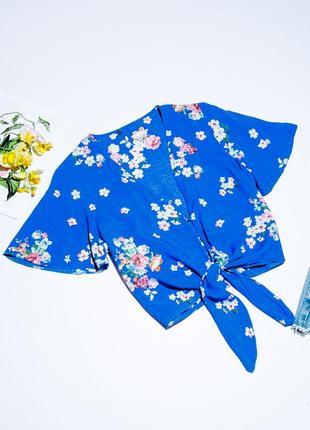 Укороченная блузка с цветочным принтом