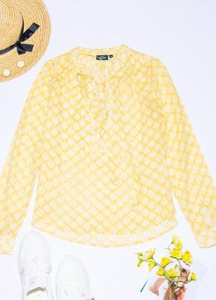 Женская рубашка желтая со шнуровкой