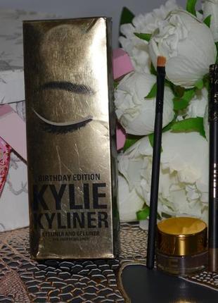 Гелевая подводка для глаз kylie kyliner dark bronze карандаш + кисть kyliner kit