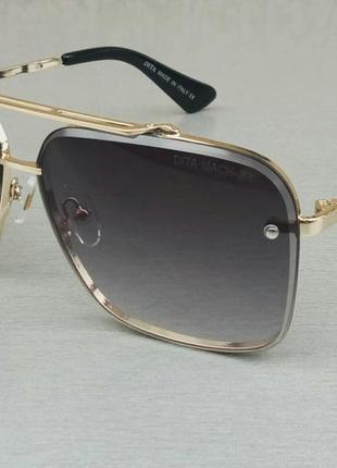 Dita очки женские солнцезащитные темно серые с градиентом в золотой оправе