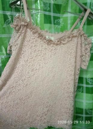Шикарная кружевная блуза маечка papaya 16p 50-52р