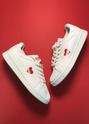 Adidas stan smith white red heart