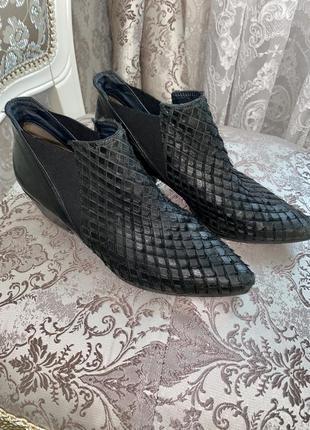 Супер стильные кожаные сапоги казаки, ботинки  с чешуей paul green
