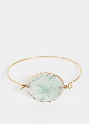 💚💛 браслет с крупным натуральным бледно-зеленым камнем от asos оригинал