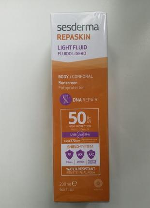 Sesderma repaskin spf 50 солнцезащитный крем-гель для тела 200мл.