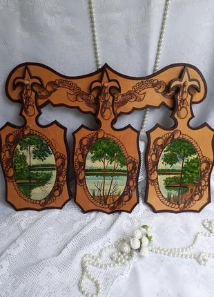 Набор розделочных деревянных досток на планке с ручной росписью пейзажные