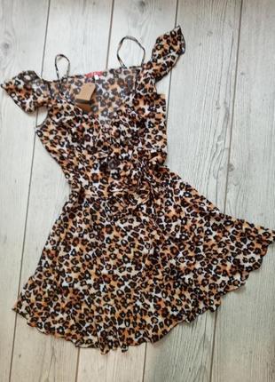 Платье на запах,леопардовое платье