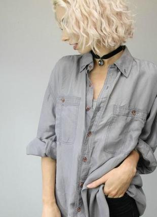 Тренд,винтаж!шелковая оверсайз рубаха, рубашка, натуральный саржевый шёлк шелк саржевый,