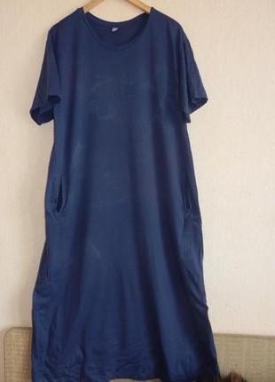 Классное длинное натуральное платье- футболка большой размер