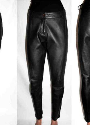 Кожаные брюки бойфренд высокая талия heine натуральная тонкая кожа 46-50р