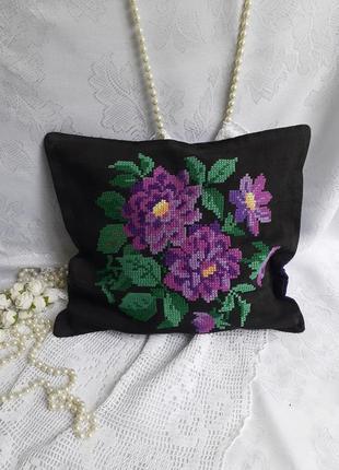 Наволочка на диванную подушку розы ручная вышивка крестиком винтаж