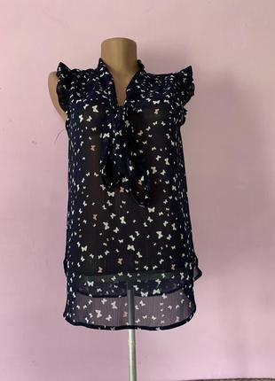 Блуза с бабочками бабочки шифон полупрозрачная