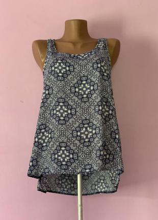 Стильная блуза интересная расцветка летняя шифон голубая