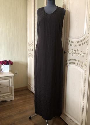 Роскошное длинное шелковое платье в пол, натуральный жаккардовый шёлк шелк,