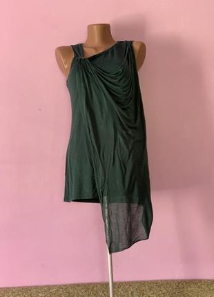 Стильная летняя блуза греческий стиль цвет леса с воланом