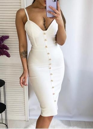 Белое облегающее бандажное платье миди с чашками prettylittlething