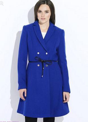 Новое синее шерстяное пальто