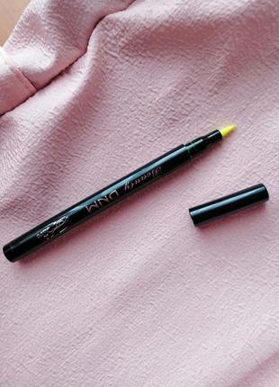 Желтая салатовая неоновая цветная яркая подводка для глаз