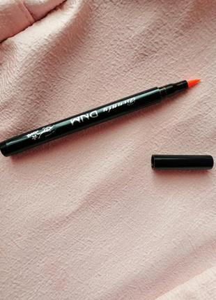 Неоновая ожанжевая цветная яркая подводка для глаз