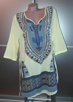 Удлиненная натуральная блузка/блуза/блузон/италия2 фото