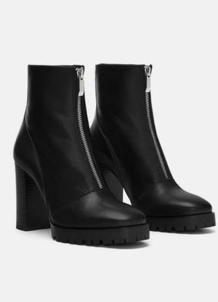 Кожаные ботинки ботильоны на каблуке чёрные zara