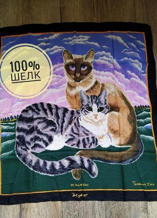 Beyeler дизайнерский платок косынка натуральный шеле коты кошка