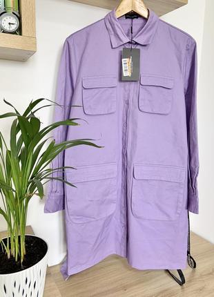 Повседневное джинсовое платье рубашка прямого кроя с поясом plt