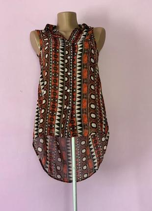 Стильная шифоновая блуза абстрактный узор