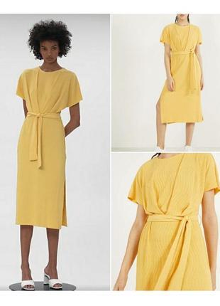 Солнечное платье миди с разрезами xs, s bershka