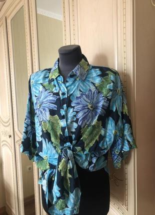 Винтаж! объемная оверсайз шелковая рубашка рубаха кардиган, натуральный шёлк шелк