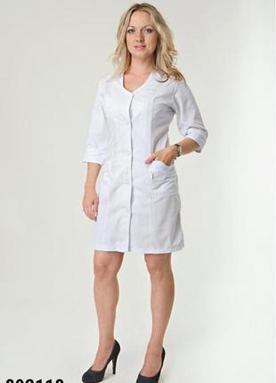 Белый халат медицинский, батист, р. 40-66; женская медицинская одежда, 892118