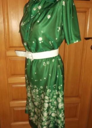 Платье сарафан зеленый белый горошек лето миди р. l1 фото