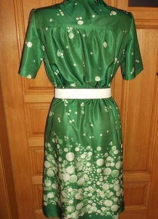 Платье сарафан зеленый белый горошек лето миди р. l2 фото