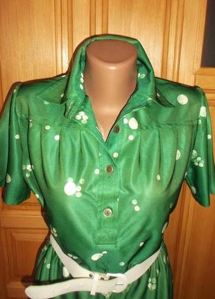 Платье сарафан зеленый белый горошек лето миди р. l3 фото