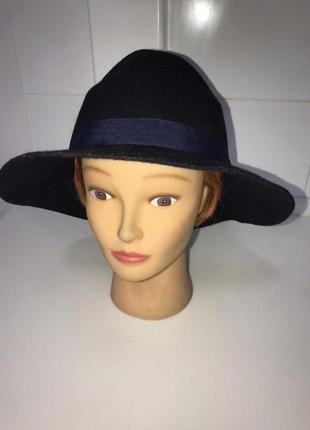 Шляпа фетровая шерсть синяя