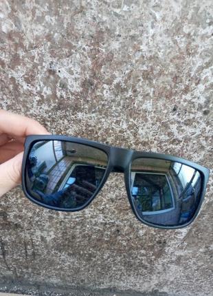 Крутые черные мужские очки правильная форма матовая оправа