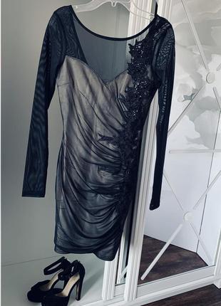 Платье вечернее с сеткой
