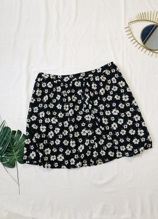 Мини юбка в цветах на пуговицах, большой размер