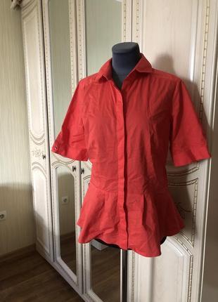 Эффектная коралловая блузка рубаха рубашка с баской,1 фото