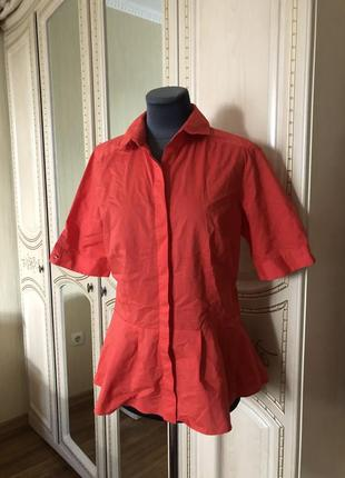 Эффектная коралловая блузка рубаха рубашка с баской,4 фото